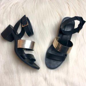 Zara Trafaluc Black and Gold Chunky Heel Sandals